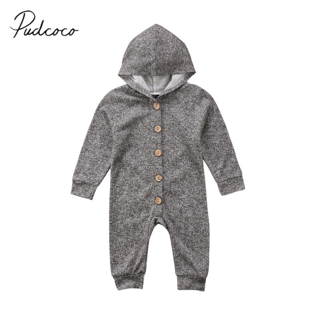 888ca1fa6 2018 Brand New Cute Newborn Toddler Kids Baby Boy Girls Infant Romper Hooded  Jumpsuit Long Sleeve Outfits Solid Warm Clothes