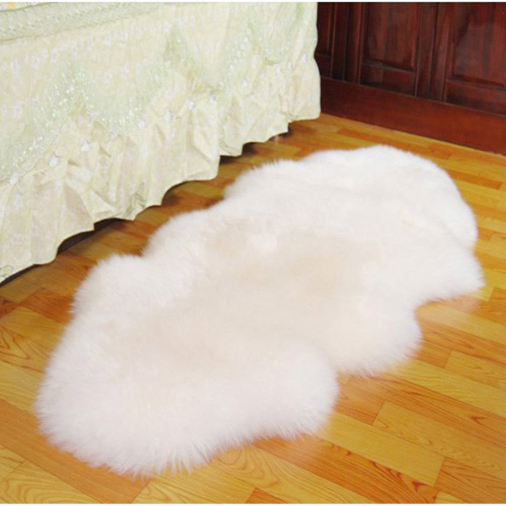 Double Real White Genuine Merino White Sheep Skin Fur Sofa