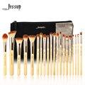 Jessup marca 20 pcs beleza de bambu pincéis de maquiagem profissional definida t145 & sacos cosméticos mulheres saco cb002