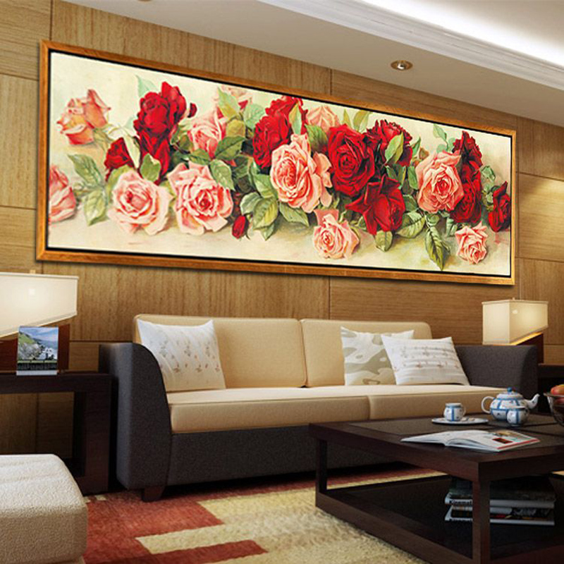 Rose flower diy diamond embroidery floral diamond mosaic for Diy flower canvas wall art