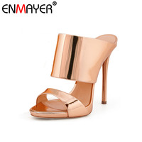 ENMAYER 2017 Hot Fashion Extreme High Heels Round Toe Slip On Sexy Silver Shoes Women New