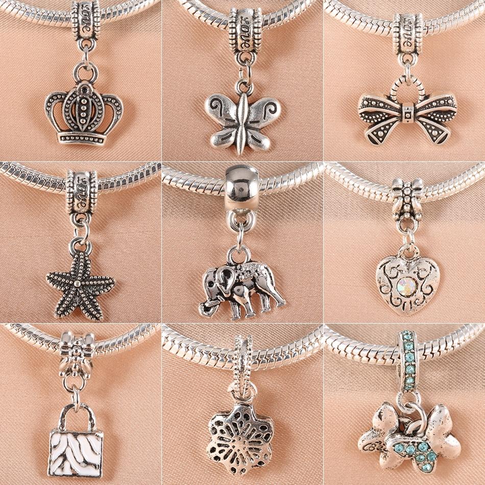 2PCS/Lot Fits Pandora charms Bracelets Antique Silver Beads Crown Butterfly Heart Lock Starfish Elephant Pendant Jewelry making