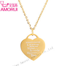 AMORUI Medical Nurse's Prayer Chain Statement Choker Heart Pendant Necklace Love Heart Bijoux Collares Collier Femme Necklaces