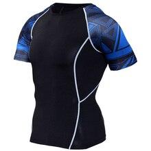Boys Mens Compression Shirts Base Layer Short Sleeves 3D Prints Thermal Under Top MMA Rashguard Tights Skin running T-Shirt цена 2017