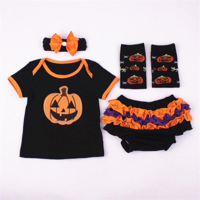 New 2018 Baby girl Pumpkin costume infant toddler clothing set 4pcs t-shirt Bloomers set halloween purim event birthday outfits