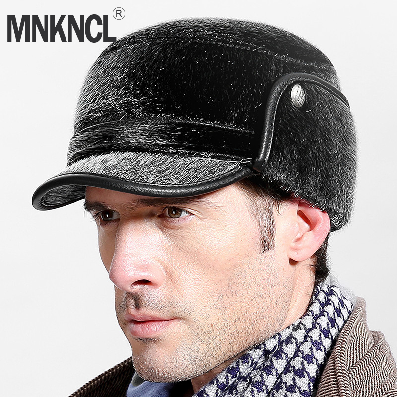 MNKNCL Warm Thickened Baseball Cap With Ears for Men Mink Hair Hat Snapback Hats Ear Fla ...