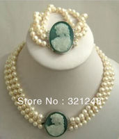 New Beads 2013 DIY 3 Row 7 8mm White Akoya Pearl Cameo Necklace Bracelet Beads Jewelry
