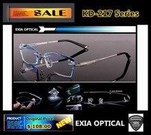 Prescription Glasses Men Custom Optical Lenses RX Power with Titanium Rimless Frame EXIA OPTICAL KD-217 Series