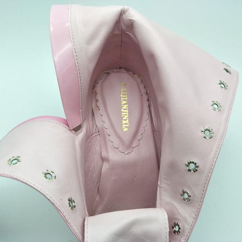 Lacent Genou Mode Haute Glitter forme Effacer Plate En Chaussures Hauts Moto Noir Nouvelle Verni Cuir Talons rouge rose À Bottes Laijianjinxia X5p7q7