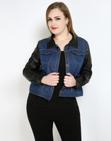 Cute Ann Women's Plus Size Denim Jackets Long Faux Leather Sleeve Blue Trun Down Collar Single Breasted Casual Duster Coat