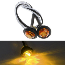 "1 Pair Mini DC 12V 3/4 ""Bulat Sisi 3 Marker LED Trailer Peluru Lampu Tahan Air Lampu Penanda Sisi(China)"