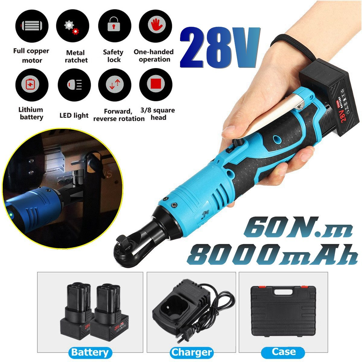 28V 8000mAh 60N.m 3/8 LED Lighting Cordless Electric Ratchet Wrench Set with 2pcs Li-Ion Battery Impact Wrench Power Tool28V 8000mAh 60N.m 3/8 LED Lighting Cordless Electric Ratchet Wrench Set with 2pcs Li-Ion Battery Impact Wrench Power Tool