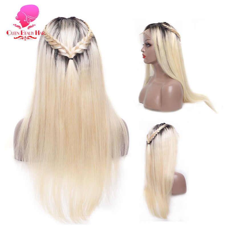 Perruque Full Lace Front Wig sans colle brésilienne | Cheveux naturels et longs, couleur ombré blond 1B 613, 13x6, pour femmes africaines