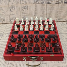 New Antique Chess Medium Terracotta Pieces Wooden Folding Chessboard Three-dimensional Character Yernea