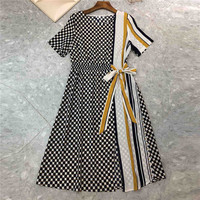 Belt Dresses Vintage Summer 2018 Short Sleeve Casual Dress Plaid New Style