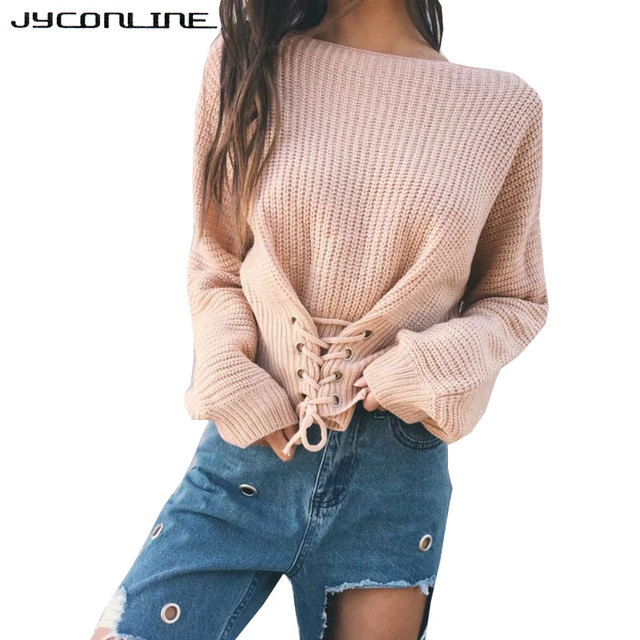 2f08f077fd JYConline Autumn Lace Up Sweater Women 2017 Knitted Women Sweaters And Pullovers  Jumper Adjust Waist Bandage