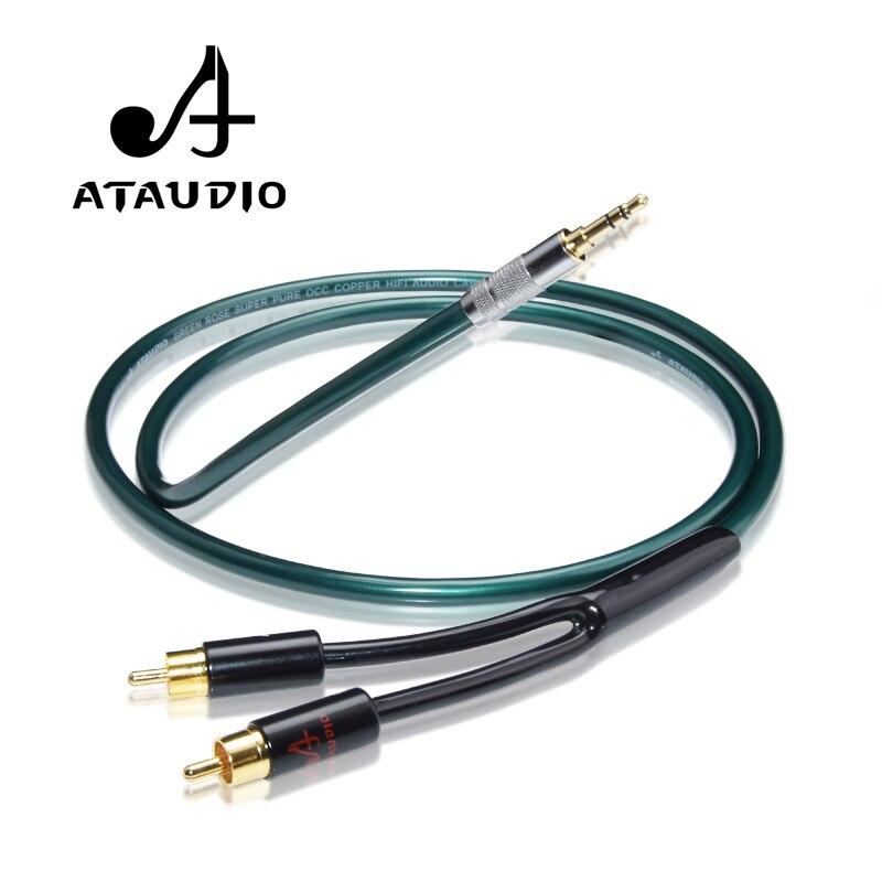 ATAUDIO ハイファイ 3.5 ミリメートルに 2RCA Y スプリッタケーブルハイファイオーディオマニアのための接続電話 MP3 CD PC にアンプ