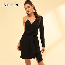 SHEIN Night Out Black One Shoulder Tie Waist Asymmetrical Dress High Waist Short  Dress Autumn Modern Lady Workwear Women Dresses 11d6706557be
