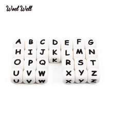 Woel Well500pcs  Letter Silicone Beads Baby Teether Beads Chewing Alphabet Bead For Personalized Name DIY Teething Necklace 12m 100pcs teether silicone beads toy russian alphabet bead 12mm english letter chewing beads for teething necklace pacifier chain
