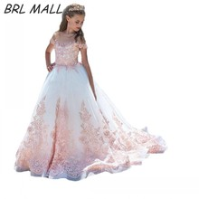 2018 New Pink Lace Appliques flower girl dresses court train short sleeves first communion dresses for girls kids ball gown