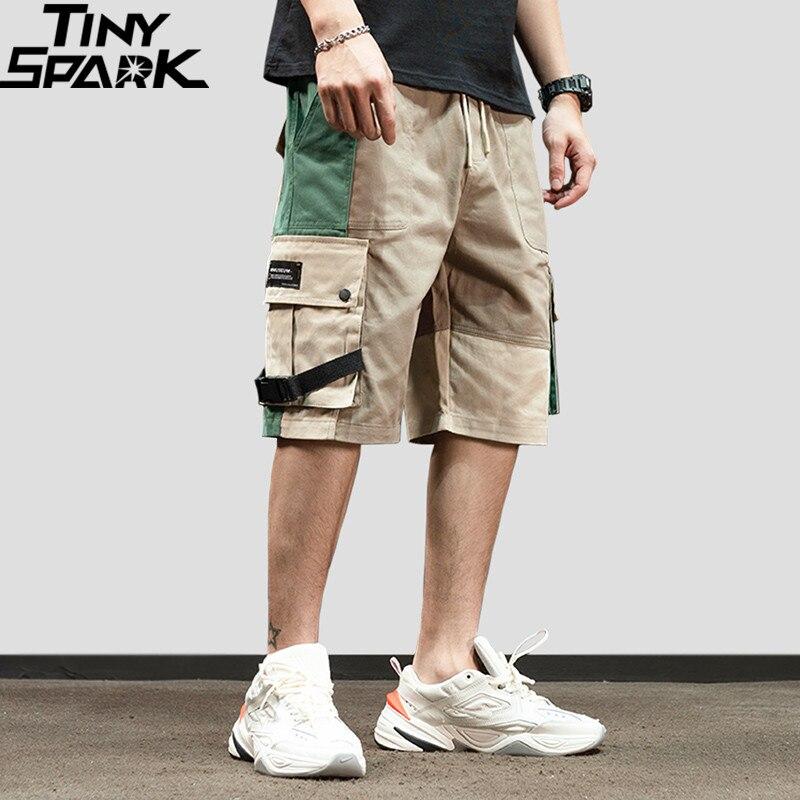 Men 2019 Hip Hop Cargo Shorts Streetwear Color Block Harajuku Jogger Shorts Summer HipHop Track Short Sweatpant Pockets Cotton