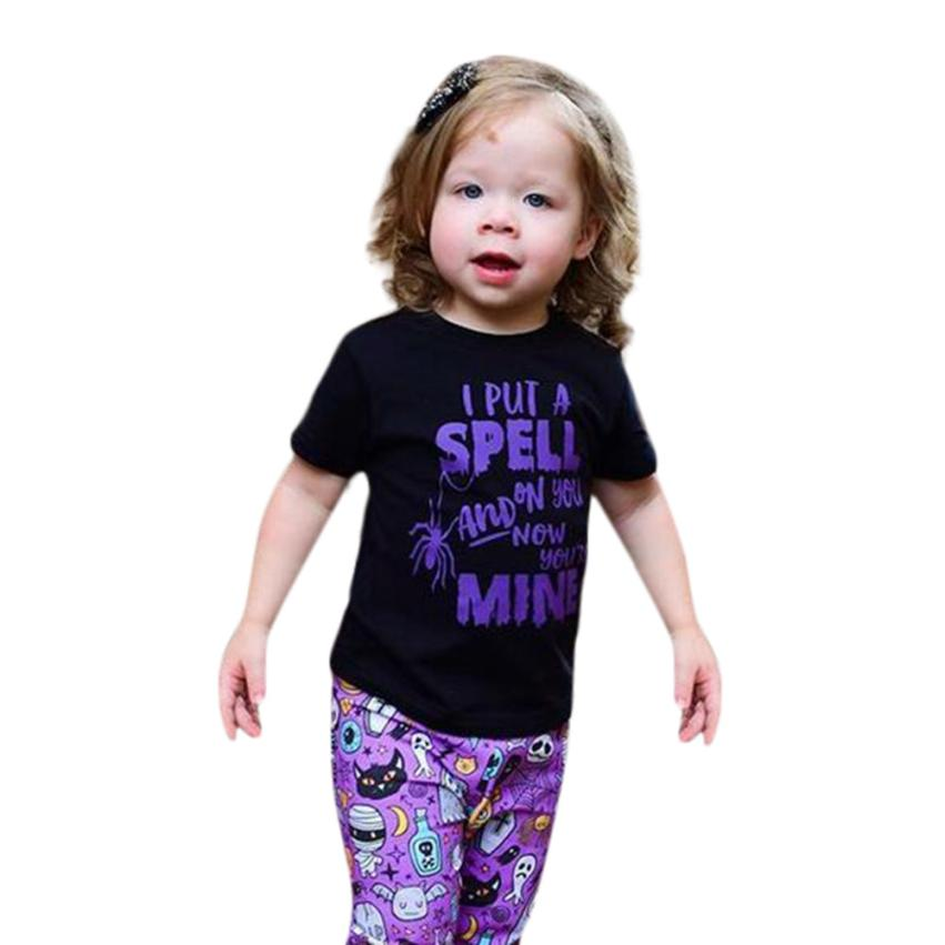 Infant Baby Girls Boys Letter Print Tops+Pants Halloween Clothes Outfits Set