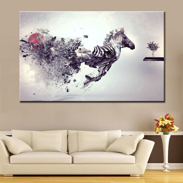 Marvel Leinwand Wandkunst Lauf Zebra Malerei Für Wohnzimmer Wandgestaltung  Handgemalte Abstrakte Tier Ölgemälde Ungerahmt