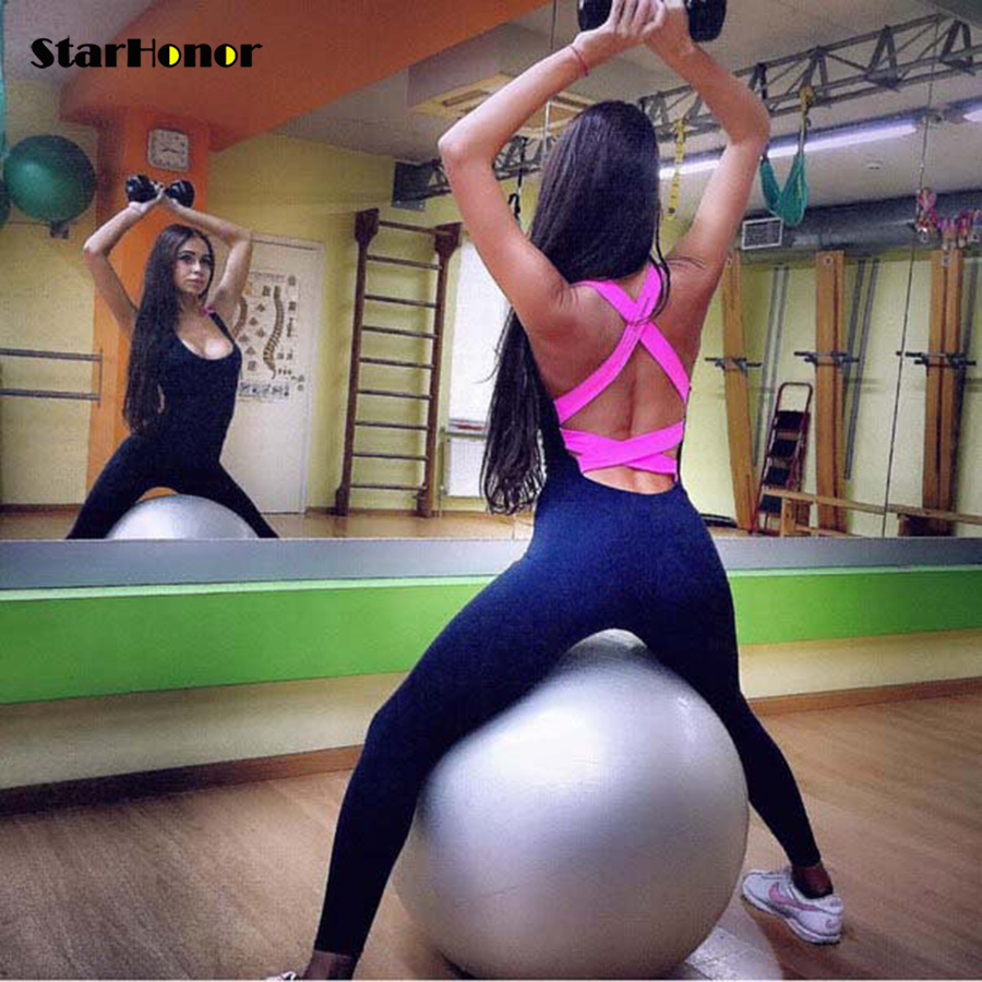 Sexy Woman Cross One Piece Gym Fitness Clothing Suit Quick Drying Elastic Fitness Tights Running Jumpsuits Sports Yoga Sets