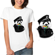 Police Panda Ironing on Heat Transfer Printed Patches Stickers for Clothes T-shirts Washable DIY Appliques Wholesale