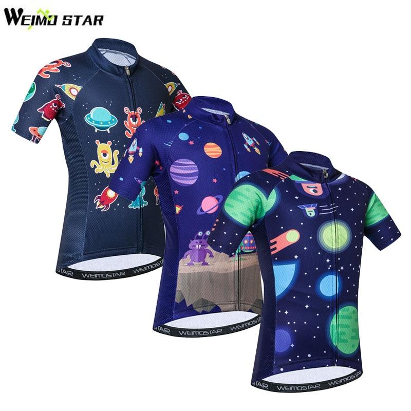 Weimostar Cyling Jersey Youth For Kids Boys Girls Reflective Bike Shirt Dinosaur