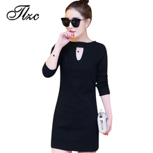 TLZC New Arrival Women Casual Dresses Plus Size L-6XL Spring Autumn Style Lady Slim Dress Black Color Woman Fashion Clothing(China)