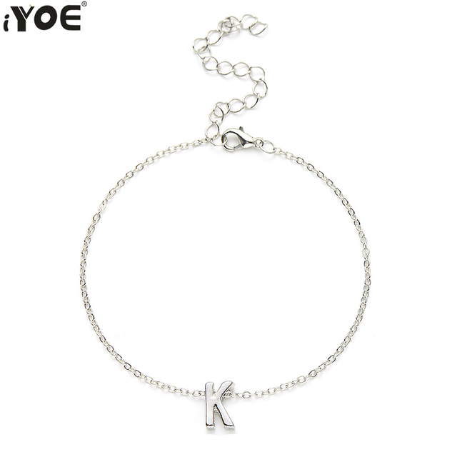 Iyoe Cute Tiny Initial A Z Letter Charm Bracelet Bangle For Women Men S Gold Silver Color