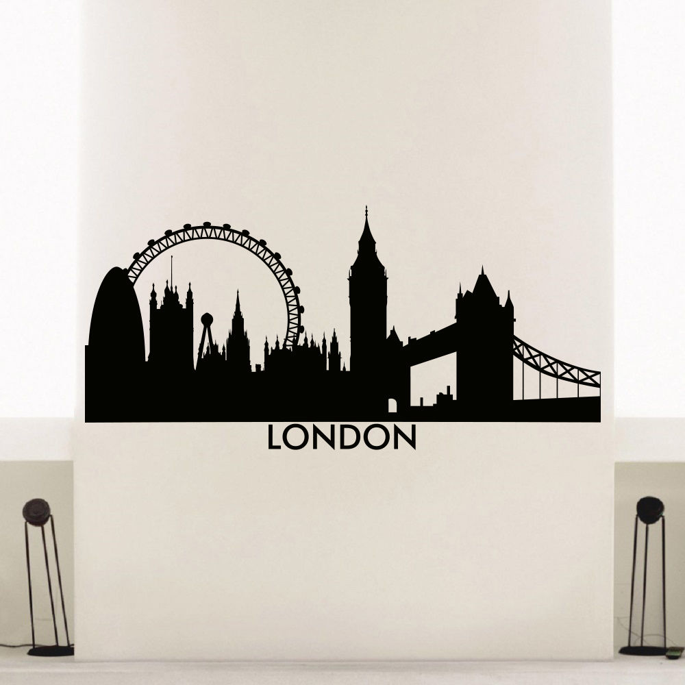 London Skyline Wall Sticker Vinyl City Decal Silhouette Art Mural Home Decoration Poster AY745