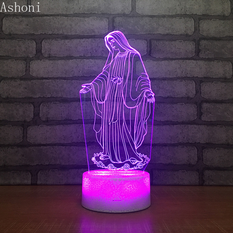 3D Acrylic LED Night Light Blessed Virgin Mary Touch 7 Color Changing Desk Table Lamp Party Decorative Light Christmas Gift image