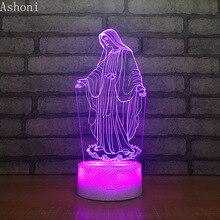 3D Acryl LED Nacht Licht Gesegnet Jungfrau Maria Touch 7 Farbwechsel Schreibtisch Tisch Lampe Party Dekorative Licht Weihnachten Geschenk