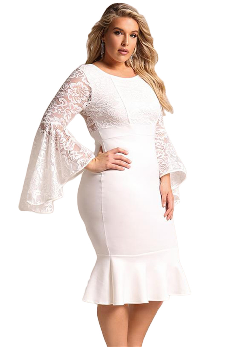 Adogirl Women Sexy White Plus Size Lace Mermaid Dress Flare Long ... bbe7f76311c7