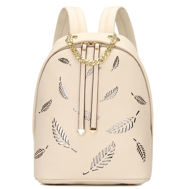 ФОТО 2017 Women Backpack Leaves Hollow Out Leather Bag White Fashion Backpacks For Teenage Girls Chain Black Rucksack mochila XA656H
