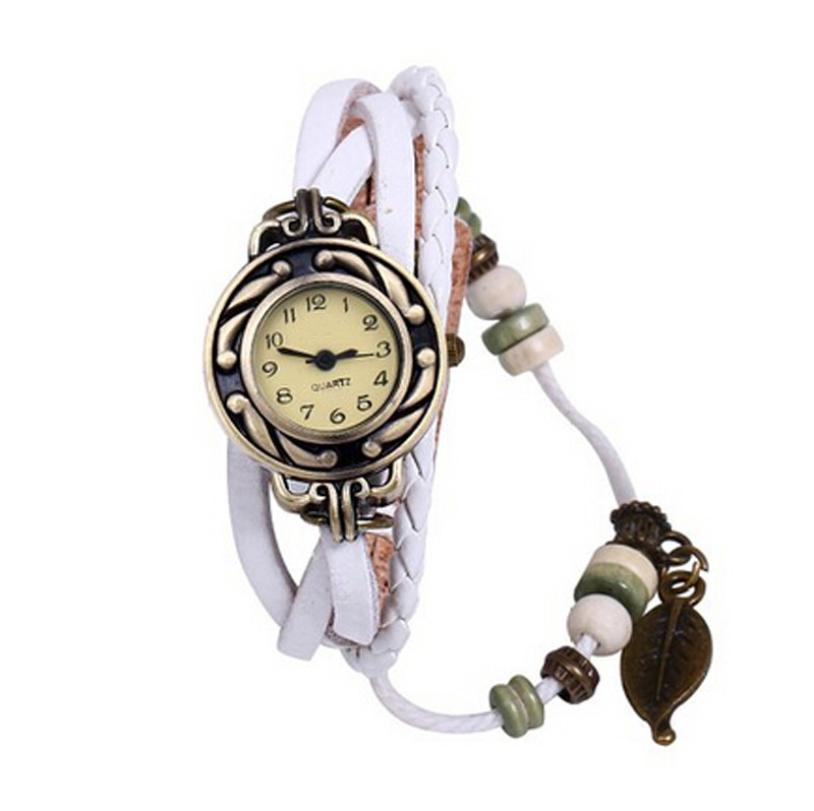 Hot Female Women Watches Bracelet Leaf Pendant Vintage Watches Orologio Donna Wristwatch Women Quartz Wristwatches Dropship fantastic 2016 hot sale leaf pendant bracelet leather chain alarm clock analog quartz movement wristwatches free shipping jun 28