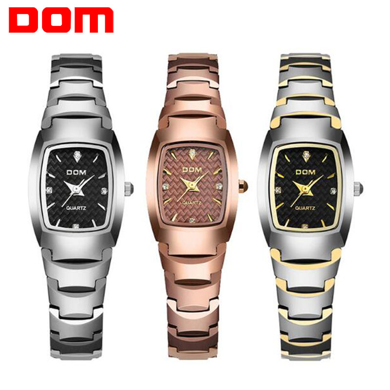 Fashion Watch Women's Wrist Watches DOM Brand Luxury Women Clock Tungsten Steel Waterproof Quartz feminino Ladies Montre Femme dom brand luxury women watches waterproof tungsten steel bracelet fashion quartz silver ladies watch relogio feminino