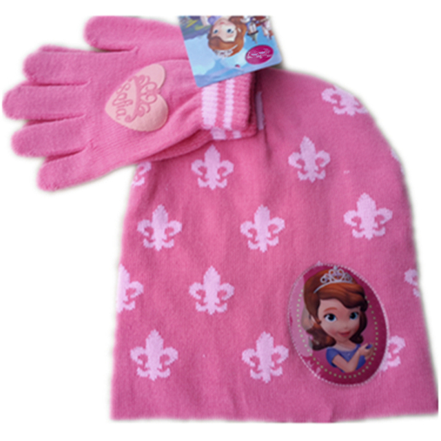 dc8ba014994 Cartoon Sofia Sophia Clover Princess Crown Knitted Caps Kids Child Girl  Winter Cute Hat Warm Beanies With Gloves Mittens Set