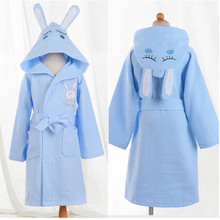 children bathrobe kids cotton waffle material cartoon cap boys and girls bathing bath spa bathrobes spring summer(China)
