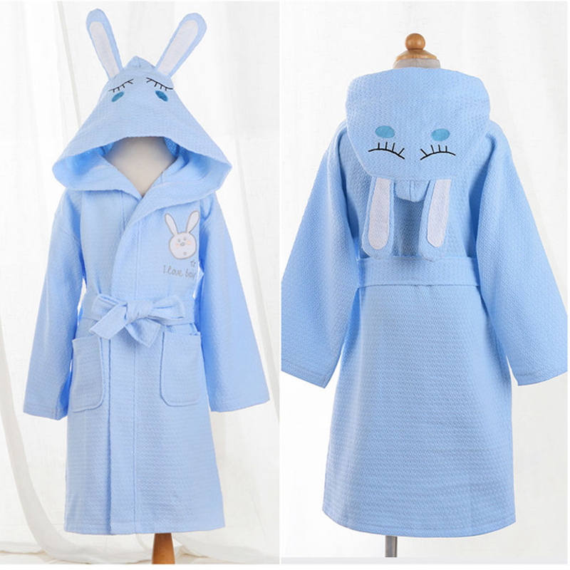 children bathrobe kids cotton waffle material cartoon cap boys and girls bathing bath spa bathrobes spring summer