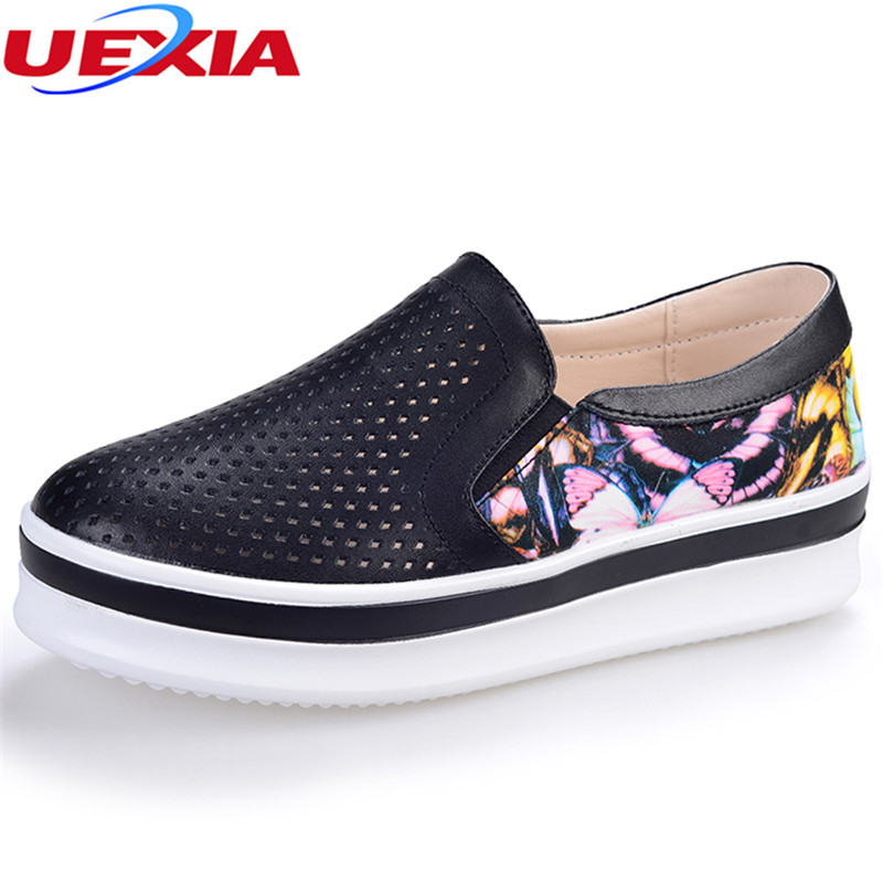 UEXIA Women Sneakers Platform Flats Loafers Shoes Bling Leopard Leather Slip on Casual White Sole Ladies Shoes flower Breathable summer women slip on loafers breathable light sole flats shoes cheap walking sneakers casual woven shoes for women nurse shoes