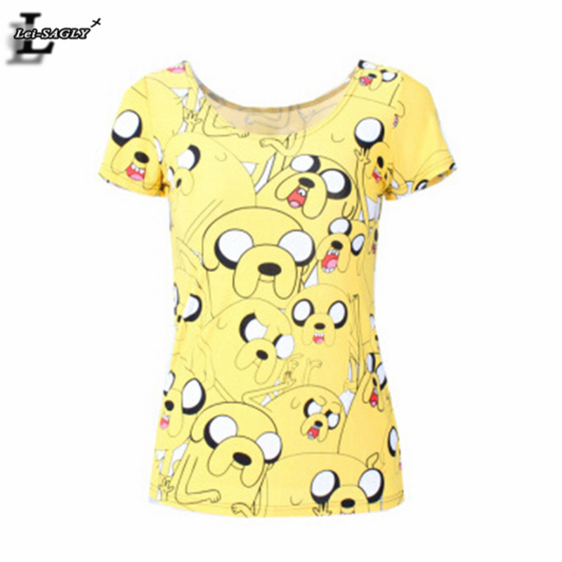 Yellow girl adventure time print t shirts summer style for Best quality shirts to print on