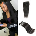 Cambodian Virgin Hair With Lace Closure 7a 100% Human Hair Extensions Cambodian Straight Virgin Hair Weave 3Bundles With Closure