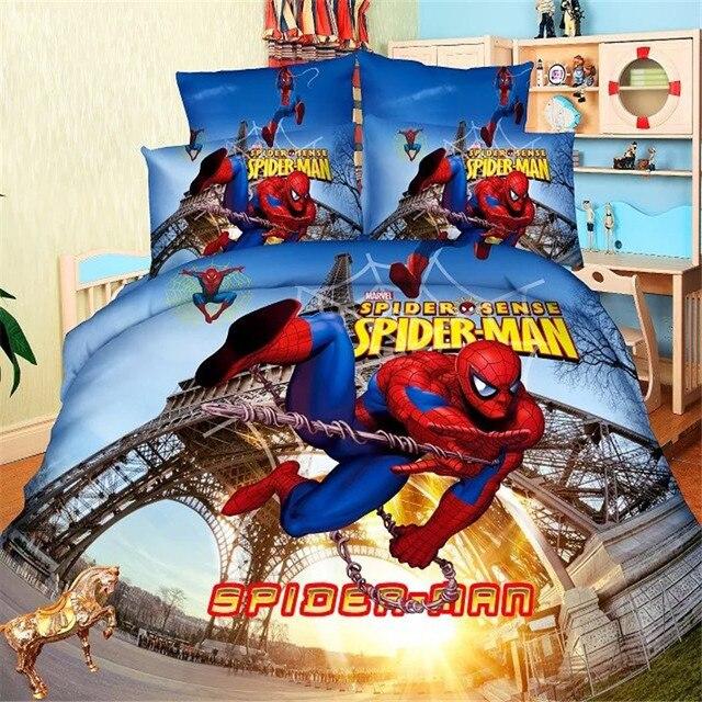 Человек-паук Комплект постельного белья для мальчиков пододеяльник простыня наволочки один размер