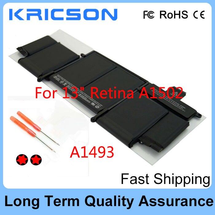 Batterie d'origine A1493 pour Apple A1502 ME864LL/A ME866LL/A; batterie rétine MacBook Pro 13