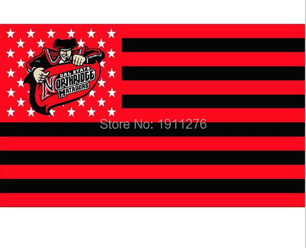 NCAA flag Cal State Northridge Matadors with us stripes 3ftx5ft Banner 100D Polyester Flag metal Grommets