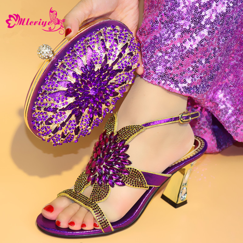 0723 Nigeria Party Woman Shoes And Bag Set New purple Color High Heels 7CM Shoes And Bag To Match Set For Wedding privatization and firms performance in nigeria