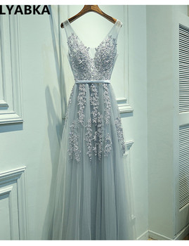 Sexy V-neck Evening Dress Robe De Soiree 2019 High Quality Grey Tulle With Applique Evening Dresses Real Photo Vestido De Festa